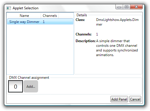 Applet selection and channel assignment.