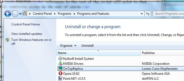 The OnTopReplica entry in the uninstaller control panel.
