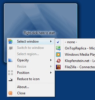 Selecting the source window