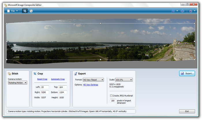 Microsoft Image Composite Editor interface.