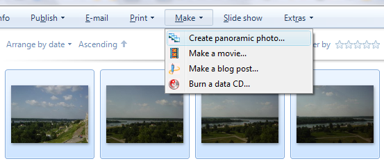 Microsoft Live Photo Gallery panorama photo interface.